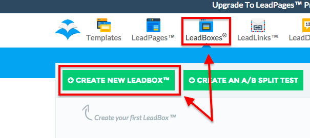 "Haz click en ""Leadboxes"" en la parte superior y luego en ""Create new Leadbox""."