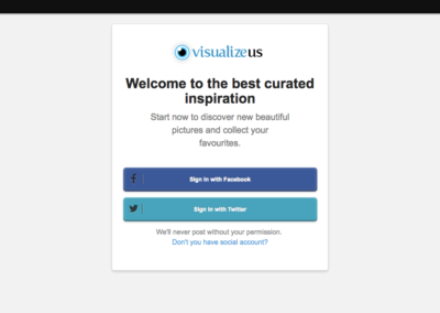 VisualizeUs Sign Up Screen